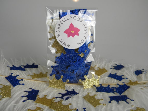 blue and gold baby shower decorations crown confetti gold royal blue
