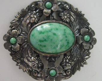 Large Vintage Czech brooch with green stones