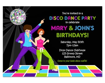 Disco Dance Party Invitation Printable or Printed with FREE SHIPPING - Personalized for your Party, Birthday, Dance Party, Reunion, Etc.