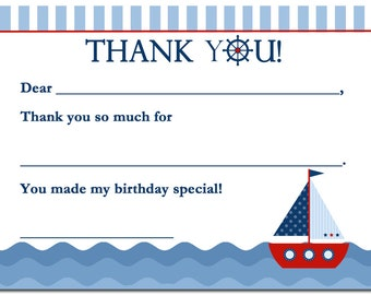 50% OFF SALE - Sailboat Thank You Notes Printable - Instant Download - Sail Away Collection