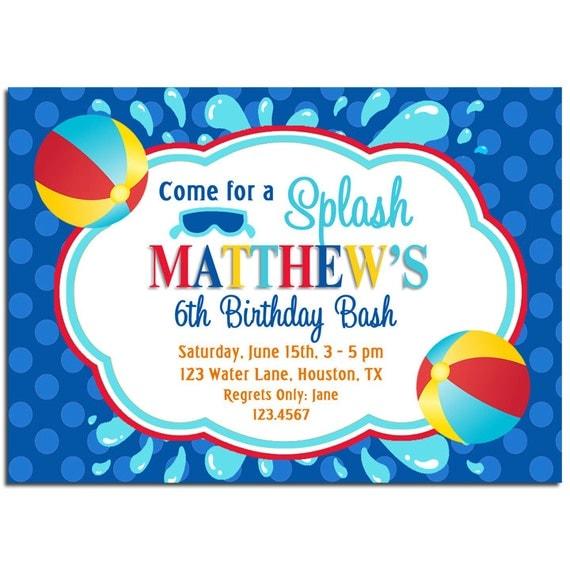 Beach Ball Splash Invitation Printable