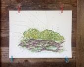 Pooling - Original Watercolor - 18inx24in