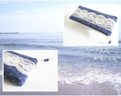 Nautical Wedding Clutch, Navy Blue Bridesmaid Clutch, Anchor and Lace Bridal Purse, Beach Wedding Bag