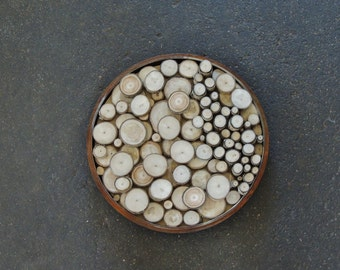 Recycled Wood Wall Hanging, Wood Slice Wall Art, Modern Metal Wall Sculpture, Round Wood Wall Sculpture, Aspen, Wood Slice Wall Sculpture
