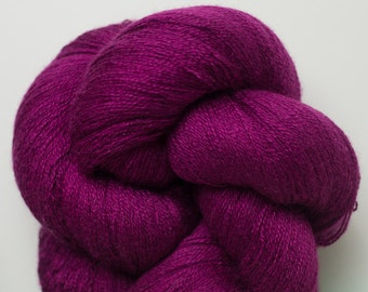 Magenta Silk Cotton Cashmere Recycled Yarn, 1211 Yards Available in Two Different Length Skeins
