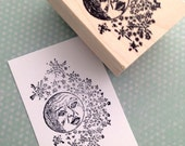 Moon and Stars Rubber Stamp 2040