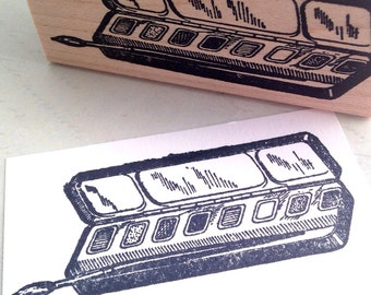 Paint Set  Wood Mounted Rubber Stamp 6432