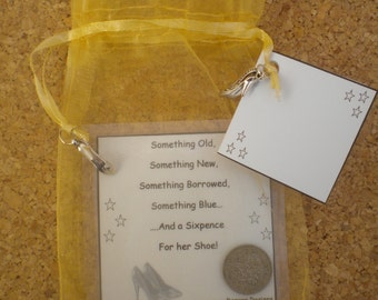 GOLD ORGANZA Bag Something Old Something New Something Borrowed Something Blue and a Sixpence For Her Shoe  Bridal Gift 6d