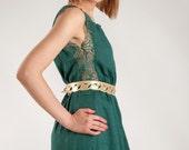 Green dress, dress with laces, long dress, ruffle dress, buttoned dress, sleeveless dress, unique dress, summer dress, cotton dress