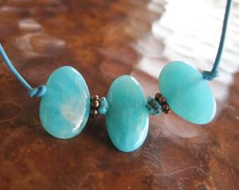Amazonite Turquoise Leather Necklace Wild Raw Blue Artisan Handcrafted Gemstone Jewelry Boho Chic Trend