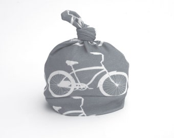 Baby Bike Hat Gray with White knotty hat Size 0-6 or 6-12 months Organic Cotton with Bicycle on Natural Colored HatOrganic Baby Hat