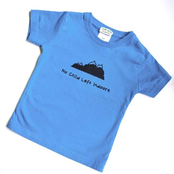 No Child Left Indoors Toddler 2T Organic and Fair Trade Certified Hand-Printed t-shirt Childrens Eco Clothing