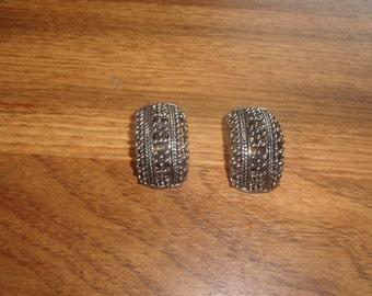 vintage clip on earrings open work silvertone