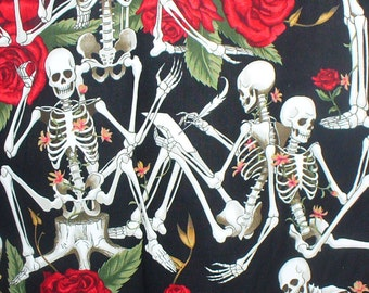 Alexander Henry /Lifes Little Pleasures / Skeletons and Roses/  Black Background / By the Yard