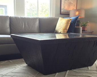 Oversized Miro Table with Storage-Made From Reclaimed Cypress and Antique Mirror Top