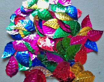 Sequin Leaves-Assorted colors-24x12mm-50 PCS