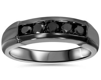 1/2CT Black Diamond Wedding Ring Black Gold Mens Wedding Ring 10K Black Gold Band Channel Set Round Size 7-12 Round Cut Black Diamonds