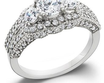 1.75CT Diamond Vintage Engagement Ring Antique Anniversary Filigree Style 14K White Gold