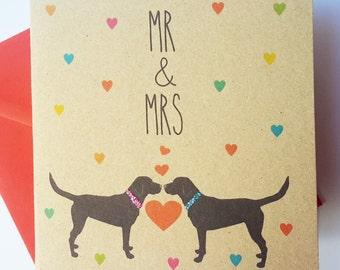 Black Labrador Dog Wedding Card - Mr & Mrs