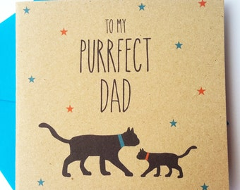 Black Cat Father's Day Card - To my purrfect dad