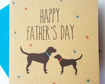 Black Labrador Dog Father's Day Card - Happy Father's Day
