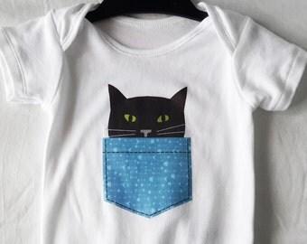 Baby Bodysuit/Vest Black Cat