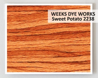 SWEET POTATO 2238 Weeks Dye Works 6- strand embroidery floss : WDW hand over dyed thread cross stitch needlepoint