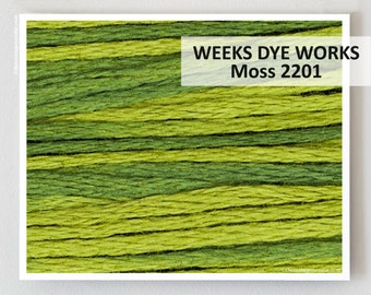 MOSS 2201 Hand-dyed Embroidery Floss : Weeks Dye Works 6- strand WDW hand over dyed overdyed thread cross stitch needlepoint
