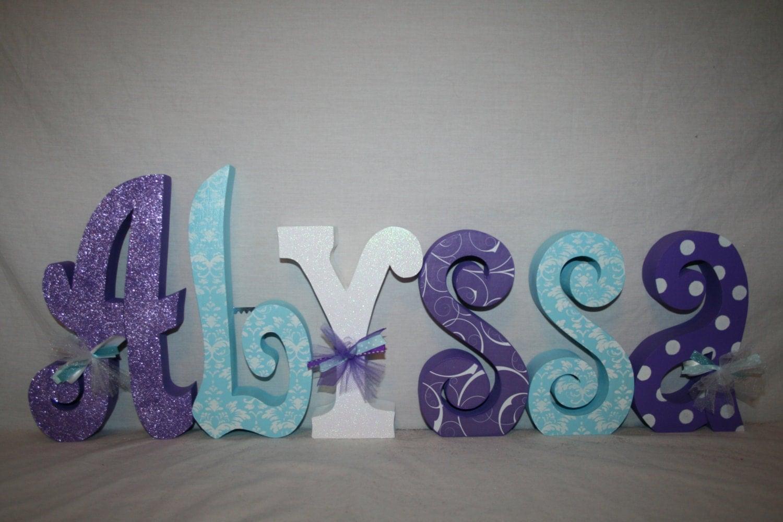 Nursery Decor Wooden Wall Letters : Nursery wall letters girls decor letter set