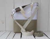 canvas tote bag, summer bag, beige and white, foldover crossbody carrier, two toned messenger, travel, weekender, unique gift for christmas