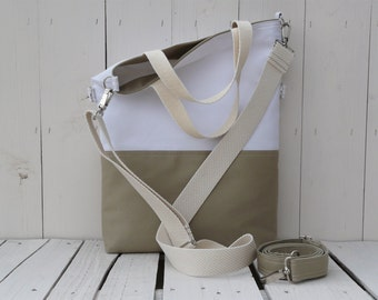 Safary canvas tote bag, summer beige and white foldover crossbody carrier, two toned messenger, travel, weekender, unique gift for christmas