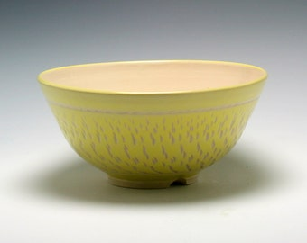 Large Handmade Ceramic Serving Bowl in Butter Yellow with Carved Texture/Ceramics and Pottery
