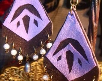 Pearl Lotus Leather Earrings