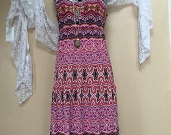 Vintage Maxi Dress, Boho Chic Dress, Colorful Tribal Print Festival Dress, Gypsy Dress, Bohemian Dress