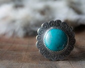 PRAIRIE FLOWER, Turquoise sterling silver flower ring, size 5.5, stamped bezel set, dainty band, hand sawn