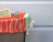 Orange Feathers and Pistachio Bicycle Basket Liner