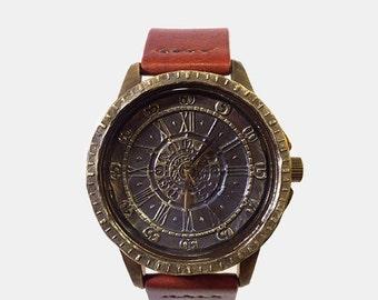 Vintage Retro Man Steampunk Wrist Watch Handstitched Leather Strap /// Antiquenus - Perfect Gift for Birthday, Anniversary, Christmas