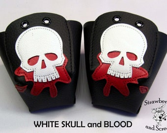 Black Leather Roller Derby Skate Toe Guards with Skulls