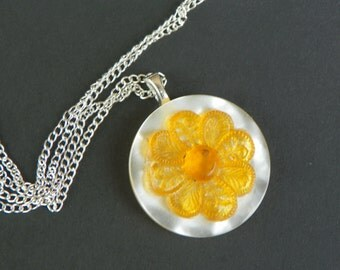 Antique necklace button necklace vintage necklace flower necklace yellow necklace mothers day gift anniversary gift birthday gift present