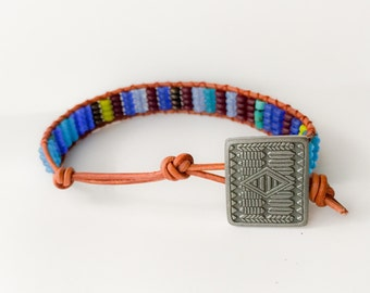 Tribal Maroon and Blues Rondelle bracelet