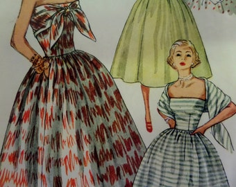 1953 Strapless Scarf-Wrapped Dress Pattern ~ Simplicity 4335 Miss 16 Bust 34. Strapless 50's PIN-UP GIRL Dress Pattern at WhiletheCatNaps