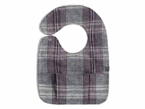 Plaid baby bib with pocket, natural baby bibs, handmade pocket bibs, linen bibs