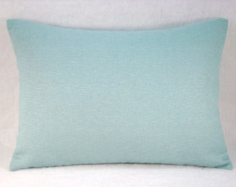 Accent Linen Lumbar Pillow Modern Decorative Lumbar Pillow Cover Aqua Pillow 13x18