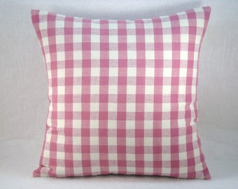 Decorative Cottage Check Pillow Accent Pillow Pink Rose Linen Pillow 18x18 Pillow Cover