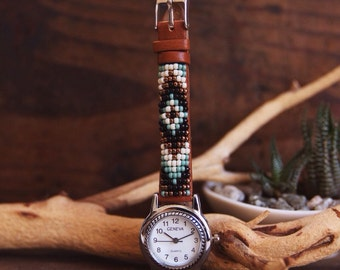 BLW-05,Native American inspired hand-beaded genuine leather watch