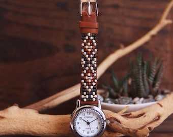 BLW-07,Native American inspired hand-beaded genuine leather watch