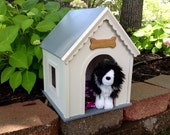 White on white dog house for 18 inch American Girl or Boy pets.
