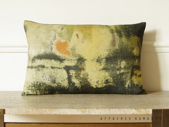 "Yellow abstract art pillow. Vintage inspired oblong cushion cover 14""x 22"" .. / RETRO-MODERNE"