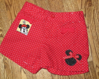 Disney Themed Upcycle 4t only -shorts -Minnie / Mickey Mouse themed - ready to ship