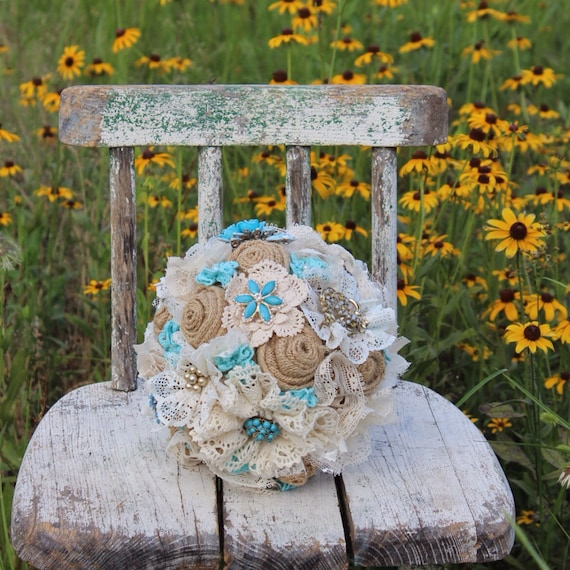 brooch bouquet burlap and lace wedding bouquet turquoise. Black Bedroom Furniture Sets. Home Design Ideas